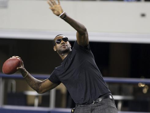 LeBron James prepares to Lebron James Football