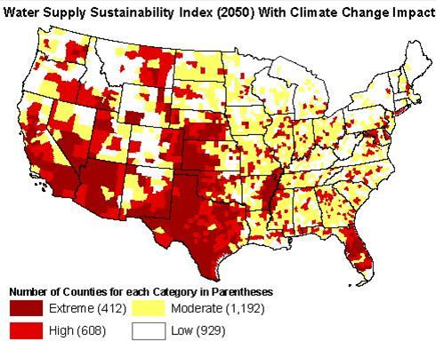 U.S. Map of Potential Water Shortages