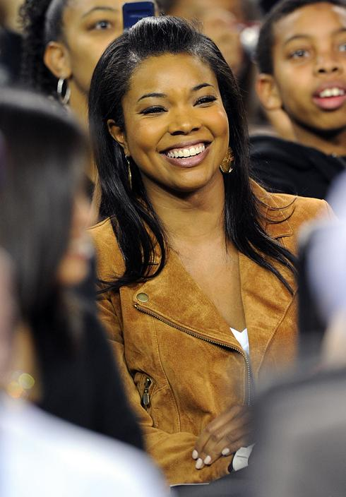 Among the happy fans: Gabrielle Union, who is rumored to be dating Dwyane ...