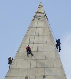 Winds force suspension of Washington Monument work for today