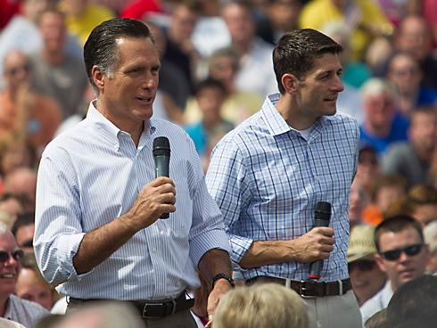 Mitt Romney (L) and Rep. Paul Ryan