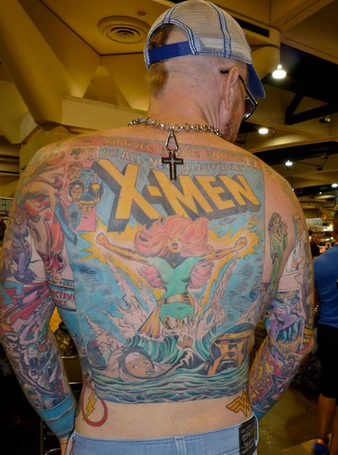 This guy has an X-Men cover on his back  and the rest of his torso is