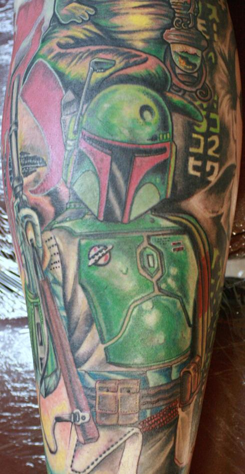 leg sleeve with all scifi stuff he says Here 39s Boba And Iron Man