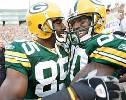 Led by Greg Jennings, left, and Donald Driver, the Green Bay Packers' receiving corps gives Aaron Rodgers a plethora of targets in the passing game.