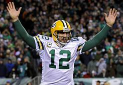 Aaron Rodgers' red-hot play in the NFL postseason will continue on Sunday to lift the Green Bay Packers to a victory in Super Bowl XLV.