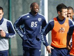 Chad Ochocinco worked out with members of Sporting Kansas City's soccer team on Wednesday.