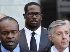 Von Miller, center, is the only draft prospect named as a plaintiff in the NFL players' antitrust suit against the league.