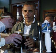 Obama celebrates St. Patty's Day at Irish bar
