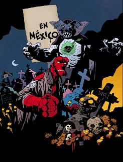 The cover to Hellboy in Mexico, drawn by creator Mike Mignola.