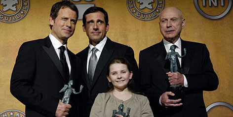 The cast of Little Miss Sunshine (Greg Kinnear, left, Steve Carell, Abigail Breslin and Alan Arkin) took home a SAG award for best ensemble, the acting union's highest honor. Is an Oscar next ?
