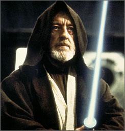 One lucky fan nabbed Obi-Wan Kenobi's brown hooded cloak, worn in Star Wars by Alec Guinness, for $104,000.