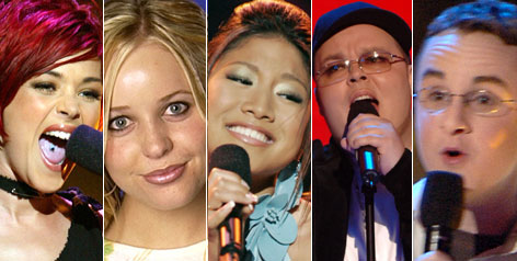 Idol's enigmas: From left to right, Nikki McKibbin, Carmen Rasmusen, Jasmine Trias, Scott Savol and Kevin Covais.
