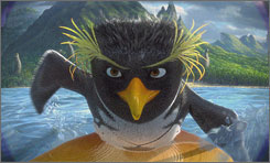 Paddle power: Cody Maverick, voiced by Shia LaBeouf, is a teenage penguin with a passion for surfing in this mock documentary.