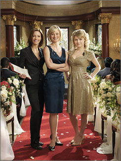 A matrimonial twist from David E. Kelley: KaDee Strickland, left, Teri Poloand Sarah Jones are the Bell sisters, and they run a wedding parlor.