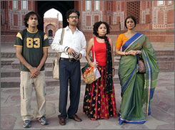 Identity crisis: Kal Penn, left, Irrfan Khan, Sahira Nair and Tabu must balance Bengali and American cultures.