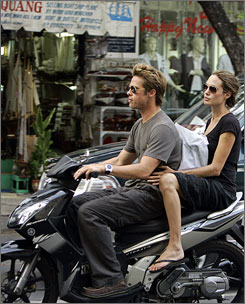 Brad Pitt and Angelina Jolie cruised around Ho Chi Minh city on a motorbike on Nov. 23, 2006.