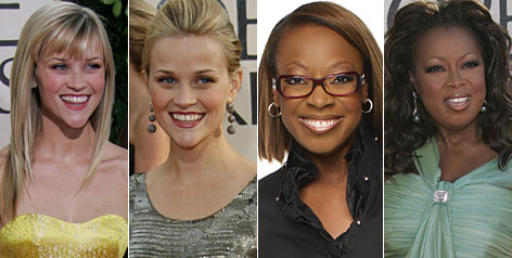 Before and after: Reese Witherspoon ups the glam factor, while Star Jones goes for bespectacled sophistication.