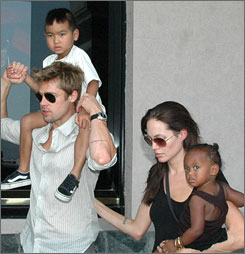 Pitt and Jolie took Maddox, 5, left, and Zahara, 2, sightseeing in India in November.