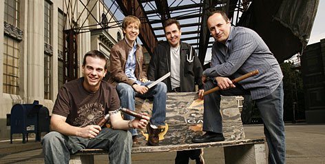 """Turtle power: Mikey Kelley (Michelangelo), left, James Arnold Taylor (Leonardo), Nolan North (Raphael) and Mitchell Whitfield (Donatello) add the voices to TMNT. """"I would like recognition for when voice actors can actually act,"""" Taylor says. """"We're not just (silly noises) and fart jokes."""" The film opens Friday."""