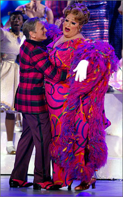 Dick Latessa dances with Harvey Fierstein, who is in character as Hairspray's Edna Turnblad.