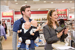 Spouse in training: John Krasinski and Mandy Moore get lessons in marriage in License to Wed, opening July 4.