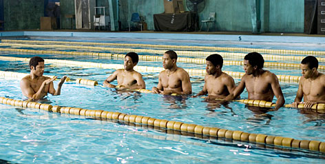 Going to great lengths: Terrence Howard gives some pointers to Alphonso McAuley, Kevin Phillips, Nate Parker and Brandon Fobbs.