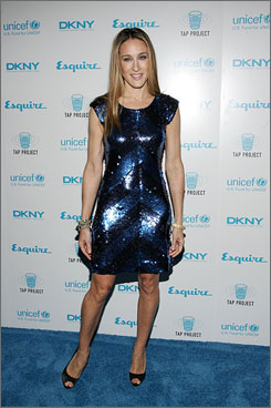 Short and shiny: Sarah Jessica Parker shimmers in blue.