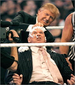 Donald Trump delights in shaving the head of Vince McMahon after his chosen wrestler bested the WWE owner's representative in the ring.