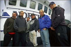 All hands on deck: Nick Mavar Jr., left, Edgar Hansen, Matt Bradley, Norman Hansen, Sig Hansen (he's the Northwestern's captain) and Stan Hansen.