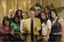 American idol Tony Bennett, shown with the nine Idol finalists, doesn't need any songwriting help.