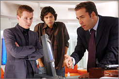 Hooray for Hollywood wranglings: Kevin Connolly, left, Adrian Grenier and Jeremy Piven.