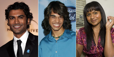 """Things are opening up"": Sendhil Ramamurthy, left, stars as a genetics professor in NBC's Heroes. Idol's Sanjaya Malakar and The Office's Mindy Kaling also are in the TV spotlight."