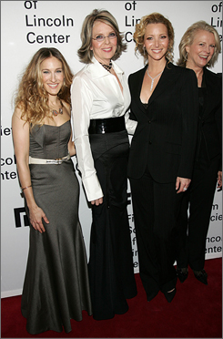 Fans and friends: Honoree Diane Keaton, second from left, is flanked by fellow actresses Sarah Jessica Parker,left, Lisa Kudrow and Candice Bergen. The Monday tribute was staged by the Film Society of Lincoln Center.