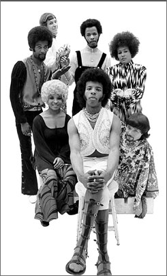 They are family: Clockwise from center front, Sly Stone, Rose Stone, Larry Graham, Greg Errico, Freddie Stone, Cynthia Robinson and Jerry Martini.