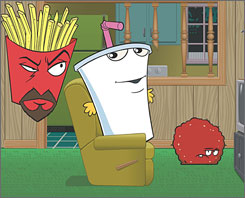 Not for adult palates: Crime fighting fast-food items Frylock, left, Master Shake and Meatwad try to stop the Insane-O-Flex machine. Or something.