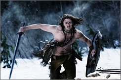 Silent warrior: Karl Urban is Ghost, a Viking raised by Native Americans who fights Norse invaders to try to save the woman he loves.