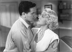 Blowsy: John Garfield falls for a married Lana Turner in The Postman Always Rings Twice.