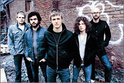 """In the """"fishbowl"""": Nic Hudson, left, Joseph Pepper, Will Pugh, Kevin Sanders and Jeff Lett of Cartel will enter the dome May 24."""