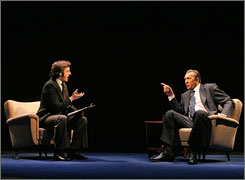 Pointed remarks: Michael Sheen, left, plays British talk-show host David Frost. Frank Langella captures the role of the disgraced Richard Nixon.