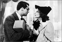 Screwball standard: Cary Grant and Katharine Hepburn in Bringing Up Baby.