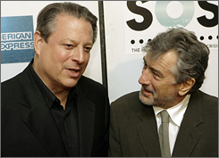 Al Gore and Tribeca Film Festival co-founder Robert De Niro pick each other's brains on the press line.