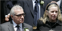 Director Martin Scorsese, seen here with wife Helen, was among the Hollywood heavy hitters who paid respect to former MPAA boss Jack Valenti on Tuesday.