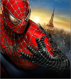 Third adventure: Tobey Maguire returns in the red Spidey suit, but it soon turns dark.