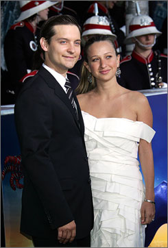 On the black carpet: Spider-Man 3's Tobey Maguire and his girlfriend, Jennifer Meyer, attend the premiere Monday night in Queens. Maguire's co-star, Kirsten Dunst, below, was there, too.