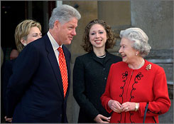 In London: Bill Clinton joins the queen for tea with wife Hillary, left, and daughter Chelsea.