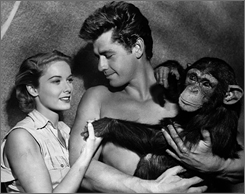Gordon Scott served as the silver screen's 11th Tarzan. He starred in 1955's Tarzan's Hidden Jungle with future wife Vera Miles, left, and Zippy, right, who played Cheetah the chimp.