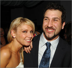 Joey Fatone and Dancing With The Stars partner Kym Johnson attended the Stuff Magazine Party, but they were careful not to have too much fun; the pair rehearsed Friday and planned to practice two more hours Saturday morning before heading to the track.