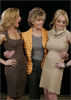 Three generations: Felicity Huffman, 44, Jane Fonda, 69, and Lindsay Lohan, 20, reunite to discuss their drama, Georgia Rule, which opens Friday. They were warm toward one another, despite reports of tension on the set.