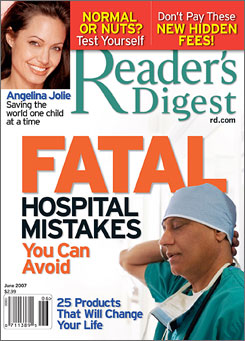 """In the June issue of Reader's Digest Jolie says that her mother, who died in January, lived long enough to see her """"grow up to be quite happy."""""""