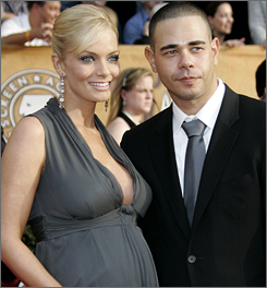 Jaime Pressly poses with fiance Eric Cubiche on the red carpet at the Screen Actors Guild Awards in January.